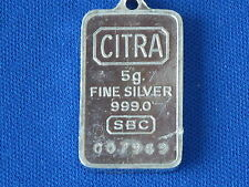 CITRA 5 Gram .999 Fine Silver Bar Pendant Ingot Serial #007969 B6601