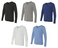 Canvas Mens NEW Size S-2XL Long Sleeve Jersey V-neck Triblend T-Shirt or Solid T