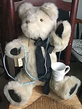 """Large Jointed TEDDY BEAR LAUREL BEARS Handcrafted Tan Plush 31"""" signed TAG RIP"""
