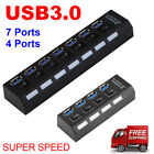 4/7Ports USB 3.0 Hub with On/Off Switch+AU AC Power Adapter for PC Laptop Lot GN