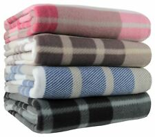 Tartan Check Polar Fleece Throw Blanket Blue Black Pink Natural 125cm x 150cm