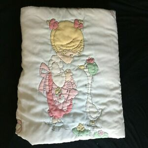 Quilted Precious Moments Crib Quilt Coverlet Blanket Pink White Floral Pastel