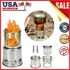 Outdoor Portable Wood Stove Folding Cooking Picnic Camping Backpacking USA Gift