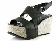 Antelope 857 Black Leather Ankle Strap Wedge Sandals 8814 Size 36 EU NEW!