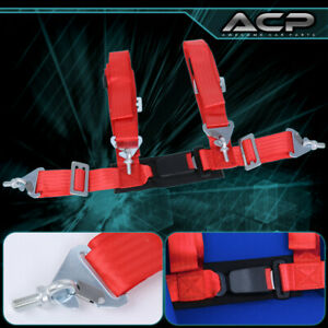 """1X 4 Point Red Nylon Racing Harness Safety Seat Belt 2"""" Buckle Strap Universal"""