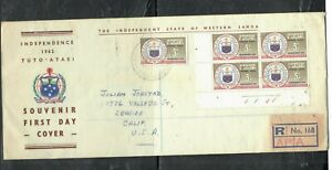 SAMOA COVER (PP1809B) 1962 5/- INDEPENDENCE PL BL 4+SINGLE FDC TO USA