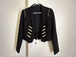 New Buttonless Marching Band / Military Uniform Style Jacket with Gold Trim (S)