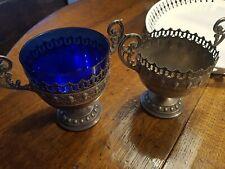 Pair Of Antique WMF Art Nouveau Design Cups with Blue Glass Liner