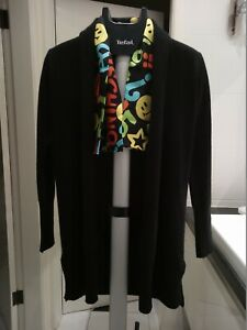 NICOLE MILLER 100% cashmere BLACK coatigan, duster, cardigan, knit, XS, BNWOT