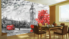 Wall Mural Red White Black London City Big Ben Vintage Photo Wallpaper Room 80