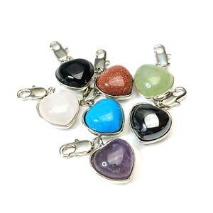7 x Gemstone Heart Charms Amethyst Rose Quartz Onyx Goldstone Jade Chakra C05