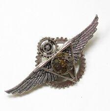 steampunk punk rock collar brooch pins wings Deathly Hallows gear men jewelry