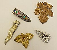 EXQUISITE VINTAGE DRESS CLIPS COLLECTION 5 SET B LOT GLASS DIAMANTE PASTE  BRASS