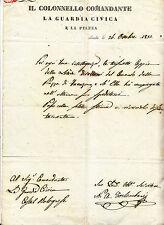 Y69-DOPO I MOTI DEL 1831-IMOLA IL COLONNELLO COMANDANTE DELLA GUARDIA CIVICA