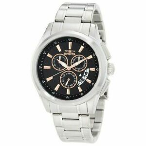 Invicta Men's Watch Silver Stainless Steel Bracelet Chronograph Black Dial 1976