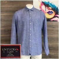Untuckit Mens Long Sleeve Button Front Blue 100% Linen Shirt Size XLT Tall