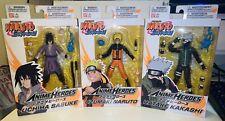 Bandai Naruto Shippuden 6� Anime Heroes Sasuke Naruto Kakashi (3 Figure Lot)