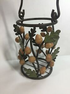 Indoor Outdoor Large Metal Candle / Bottle Holder Sycamore LEAVES & ACORNS 7""