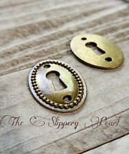 Keyhole Pendant Connector Antique Bronze Tone Steampunk Lock Charm Oval
