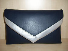 OVER SIZED NAVY BLUE & SILVER envelope faux  leather clutch bag BN