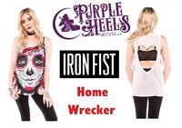 Iron Fist Home Wrecker Pink Dia De Los Muertos Chiffon Heart Tank Size S-XXL