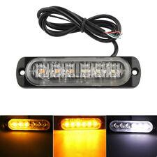 6 LED Light Bar Flash Emergency Vehicle Warning Strobe Flashing Amber & White