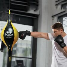 """NEW PHENOM PRO QUALITY LEATHER BOXING DOUBLE END BAG DB9/"""" WHITE//BLACK"""