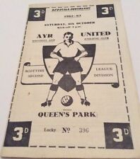 Ayr Past Domestic Leagues Home Teams A-B Football Programmes