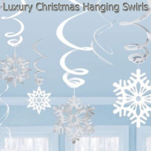 Hanging Swirls Christmas Decorations Home Decor Accessories Xmas Foil Snowflake