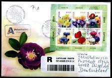 Blumen. FDC-R-Brief mit Block. Lettland 2014