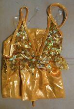 NWOT Small ch Orange Sequin crop top fringie Jazz Dance Costume foil spandex