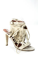 Alberta Ferretti Womens Fringe Ankle Strap Lace Up Taper Heel Sandals Size 39 9