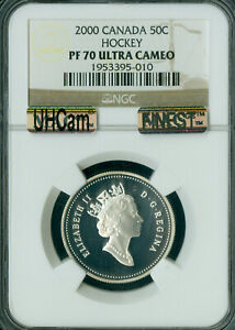 2000 CANADA HOCKEY SILVER 50 CENTS NGC PF70 UHCam  MAC FINEST SPOTLESS *