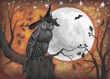 ACEO PRINT OF PAINTING OWL WITCH HALLOWEEN RYTA BAT MOON SURREAL LANDSCAPE ART