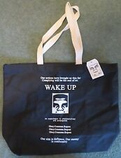"""OBEY Black Canvas """"SVEGLIA"""" Stampa Tote Bag"""