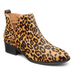 Vionic Clara Leopard Ankle Booties Calf Hair Block Heel Women's Size 7 NEW $169