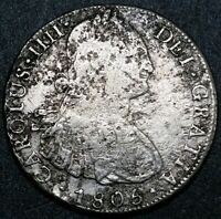 1805 PJ Bolivia 8 Reale Shipwreck Milled Bust Charles IV US First Silver Dollar