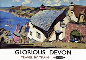 TT85 Vintage Glorious Devon Railway Travel Poster A3 A2 Re-print