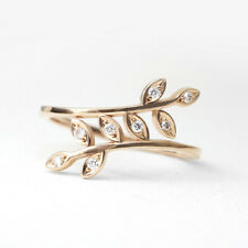 Twist Leaf Unique Diamond Ring, 14K Solid Gold Ring, Stacking Ring, Diamond Leaf