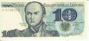 Polen   10 Zloty  1982     kassenfrisch