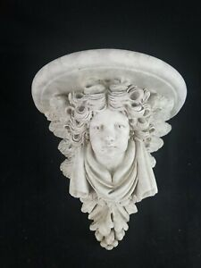"Large Sculptural +Winged Angel  Wall Sconce  Shelf 12""x12""x8"""