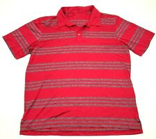 Adidas Climalite Dry Fit Polo Men's Size Extra Large XL Red Short Sleeve Striped