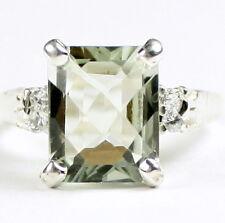 Green Amethyst , 925 Sterling Silver Ladies Ring, SR221-Handmade