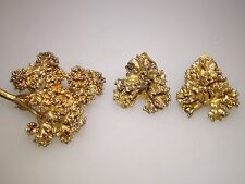 FLORA DANICA VINTAGE EGGERT DENMARK GOLD VERMEIL SILVER PIN & MATCHING EARRINGS