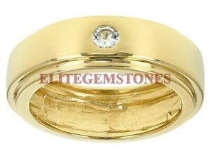 Natural Aquamarine Gemstone with Gold Plated 925 Sterling Silver Mens Ring #2207