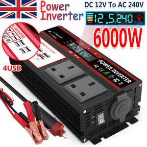 DC 12V To AC 240V Power Inverter 6000W Caravan Converter LCD DISPLAY USB UK PLUG