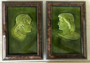 """Josiah Wedgwood - 1860 - Walter Scott's """"Ivanhoe"""" Character Portraits - Majolica"""