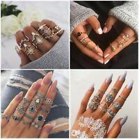15pcs Silver/Gold Boho Stack Plain Above Knuckle Ring Midi Finger Rings Set Gift
