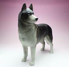 "10"" Siberian Husky Black and White Matte Finish Pottery Figurine Retired Japan"