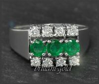 Brillant Diamant & Smaragd Damen Cocktail Ring mit 1,01ct, 585 Gold, Weißgold